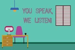 Konceptualna ręka pisze pokazywać Ciebie Mówi Nas Słucha Biznesowy fotografii pokazywać Komunikuje my twój uczucia i ilustracja wektor