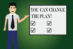 Konceptualna ręka pisze pokazywać Ciebie Może Zmieniać plan Biznesowy fotografia tekst Robi zmianom w twój planach osiągać ilustracja wektor