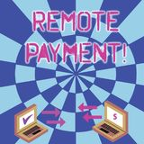 Konceptualna ręka pisze pokazywać Daleką zapłatę Biznesowego fotografia teksta płatnicza transakcja zapoczątkowywająca przez inte obraz stock