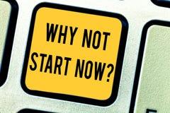 Konceptualna ręka pisze pokazywać Dlaczego Nie początek Teraz Biznesowy fotografia tekst Dzisiaj jest dobrym dniem brać akcję jut zdjęcia stock