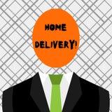 Konceptualna ręka pisze pokazywać Domową dostawę Biznesowa fotografia pokazuje akt brać towary lub pakuneczek bezpośrednio ilustracja wektor