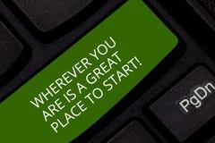 Konceptualna ręka pisze pokazywać Jest Great Place Zaczynać Gdziekolwiek Ty Jesteś Biznesowa fotografia pokazuje Zaczynać dzisiaj zdjęcia stock