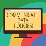 Konceptualna ręka pisze pokazywać Komunikuje dane polisy Biznesowa fotografia pokazuje ochronę przekaz ilustracja wektor