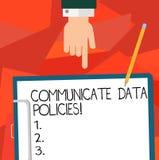 Konceptualna ręka pisze pokazywać Komunikuje dane polisy Biznesowa fotografia pokazuje ochronę przekaz royalty ilustracja
