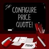 Konceptualna ręka pisze pokazywać Konfiguruje ceny wycenę Biznesowa fotografia pokazuje oprogramowanie używa firmami dla kosztowa royalty ilustracja