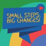 Konceptualna ręka pisze pokazywać Małym krokom Duże zmiany Biznesowy fotografia tekst Robi małym rzeczom osiągać wielkich cele Sk royalty ilustracja