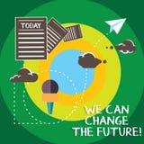 Konceptualna ręka pisze pokazywać Możemy Zmieniać przyszłość Biznesowy fotografia tekst Robi akcjom dokonywać różnych rezultaty ilustracji