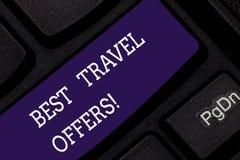 Konceptualna ręka pisze pokazywać Najlepszy podróży oferty Biznesowa fotografia pokazuje wizytę inni kraje z wielkim rabatem obrazy royalty free