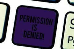 Konceptualna ręka pisze pokazywać pozwolenie Zaprzecza Biznesowy fotografia tekst zatwierdzający lub przyznający przeglądać lub p obraz stock