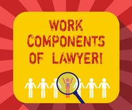 Konceptualna ręka pisze pokazywać praca składniki prawnik Biznesowe fotografia teksta prawników praw dokumentów decyzje ilustracja wektor