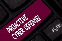 Konceptualna ręka pisze pokazywać Proaktywnie Cyber obronę Biznesowa fotografia pokazuje antycypację przeciwstawiać ataka zdjęcie royalty free
