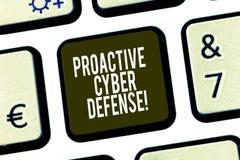 Konceptualna ręka pisze pokazywać Proaktywnie Cyber obronę Biznesowa fotografia pokazuje antycypację przeciwstawiać ataka obraz royalty free