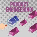 Konceptualna ręka pisze pokazywać produkt inżynierię Biznesowy fotografia teksta proces projektować przyrząd i rozwijać lub ilustracja wektor