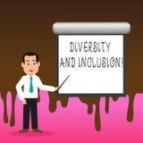 Konceptualna ręka pisze pokazywać różnorodność I włączenie Biznesowa fotografia teksta pasma huanalysis różnica zawiera rasy ilustracja wektor