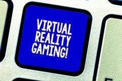 Konceptualna ręka pisze pokazywać rzeczywistość wirtualna hazard Biznesowa fotografia pokazuje zastosowanie wirtualny środowisko zdjęcia stock
