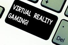 Konceptualna ręka pisze pokazywać rzeczywistość wirtualna hazard Biznesowa fotografia pokazuje zastosowanie wirtualny środowisko zdjęcie royalty free