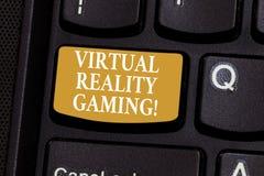 Konceptualna ręka pisze pokazywać rzeczywistość wirtualna hazard Biznesowa fotografia pokazuje zastosowanie wirtualny środowisko obrazy stock