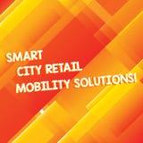 Konceptualna ręka pisze pokazywać Smart City Detalicznych ruchliwość rozwiązania Biznesowa fotografia pokazuje Związany technolog obraz stock