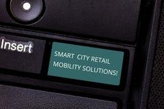 Konceptualna ręka pisze pokazywać Smart City Detalicznych ruchliwość rozwiązania Biznesowa fotografia pokazuje Związany technolog obrazy royalty free