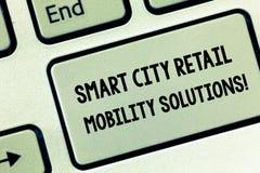 Konceptualna ręka pisze pokazywać Smart City Detalicznych ruchliwość rozwiązania Biznesowa fotografia pokazuje Związany technolog fotografia stock