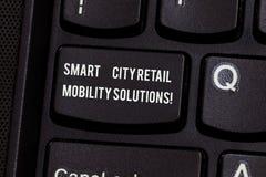 Konceptualna ręka pisze pokazywać Smart City Detalicznych ruchliwość rozwiązania Biznesowego fotografia teksta Związani technolog obraz stock