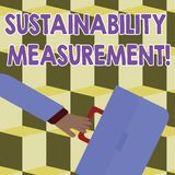 Konceptualna ręka pisze pokazywać trwałość pomiar Biznesowa fotografia pokazuje miarę środowiskowego socjalny i ilustracji