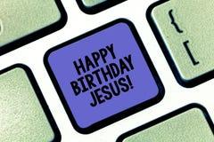 Konceptualna ręka pisze pokazywać wszystkiego najlepszego z okazji urodzin Jezus Biznesowy fotografia tekst Świętuje narodziny św zdjęcia royalty free