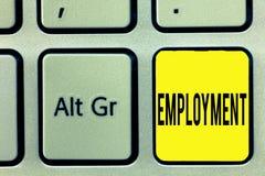 Konceptualna ręka pisze pokazywać zatrudnienie Biznesowy fotografia teksta stan płacić pracy zajęcia spożytkowanie obrazy royalty free