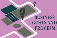 Konceptualna ręka pisze seansowi Biznesowych celach I procesie Biznesowa fotografia pokazuje Pracujące strategie osiąga cele ilustracja wektor