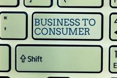 Konceptualna ręka pisze seansu biznesie konsument Biznesowa fotografia pokazuje Bezpośrednią transakcję między firmą i zdjęcie stock