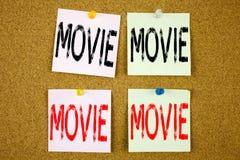 Konceptualna ręki writing teksta podpisu inspiracja pokazuje branży filmowa pojęcie dla rozrywka filmu filmu na colourful Stic obrazy royalty free