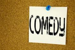 Konceptualna ręki writing teksta podpisu inspiracja pokazuje komedię Biznesowy pojęcie dla Stoi Up Komediowego mikrofon pisać na  Obrazy Stock