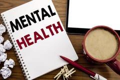 Konceptualna ręki writing teksta podpisu inspiracja pokazuje zdrowie psychiczne Biznesowy pojęcie dla niepokój choroby nieładu pi obrazy stock