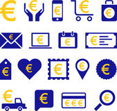 Konceptualne Euro ikony Zdjęcia Royalty Free