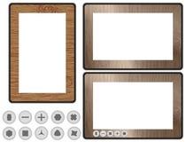 konceptualnego projekta ilustracyjna komputeru osobisty pastylka drewniana Obrazy Stock