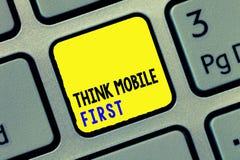 Konceptualnego ręki writing seansu myśli wiszącej ozdoby fotografii teksta Pierwszy Biznesowego Łatwego Handheld przyrządu Dostęp zdjęcia royalty free