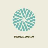 Konceptualnego szablonu loga wektorowy round projekt i monograma pojęcie w modnej, kwiecistej odznace, emblemat dla mody, piękno Obraz Royalty Free
