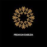 Konceptualnego szablonu loga wektorowy round projekt i monograma pojęcie w modnym liniowym stylu, kwiecista odznaka, emblemat Fotografia Royalty Free