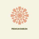 Konceptualnego szablonu loga wektorowy round projekt i monograma pojęcie w modnym liniowym stylu, kwiecista odznaka, emblemat Zdjęcie Royalty Free