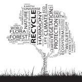Konceptualnej ekologii słowa drzewna chmura Fotografia Royalty Free