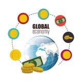 konceptualnej kryzysu gospodarki globalny wizerunku spekulaci świat Obrazy Stock