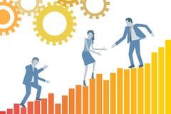 Konceptualnej pracy zespołowej projekta biznesowy płaski wektor z liderem pomaga jego kolegów wspina się wzrostową mapę royalty ilustracja