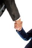 Konceptualni biznesmeni i bizneswoman Trząść ich ręki Zdjęcia Royalty Free