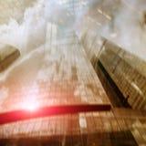 Konceptualny biznesowy tło, centrum biznesu sala i wieżowowie, abstrakcjonistyczny wizerunek zdjęcie royalty free