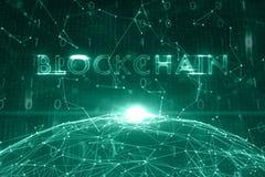 Konceptualny blockchain cyberprzestrzeni tło Obrazy Royalty Free