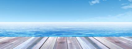 Konceptualny drewniany pokład nad morza i nieba sztandarem Obrazy Royalty Free
