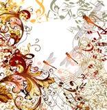 Kreatywnie muzyczny tło z kwiecistym ornamentem Zdjęcie Stock