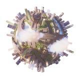 Konceptualny planety miasta 3d rendering Obrazy Royalty Free