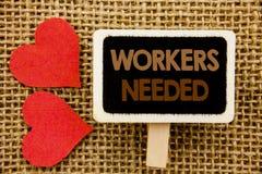 Konceptualny ręka tekst pokazuje pracowników Potrzebujących Biznesowa fotografia pokazuje rewizję Dla kariera zasobów pracowników Zdjęcia Stock