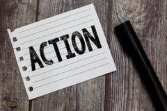Konceptualny ręki writing pokazuje akcję Biznesowy fotografia teksta fact lub proces robi coś dokonywać cel typowo zdjęcie stock